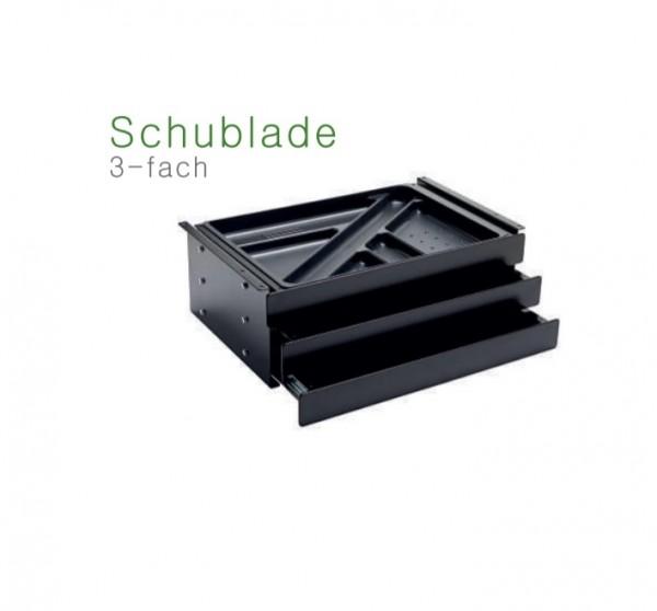 Schublade 3-fach mit Schloss, Breite 408mm schwarz
