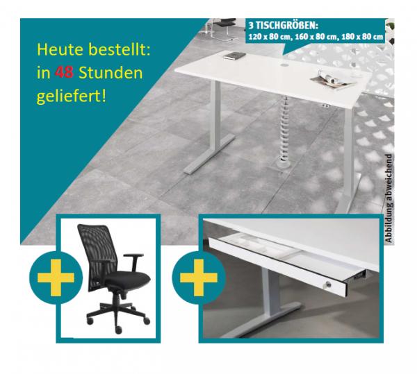 Hammerbacher HOME OFFICE Schreibtisch/Drehstuhl/Unterbauschublade Breite 120/160/180/