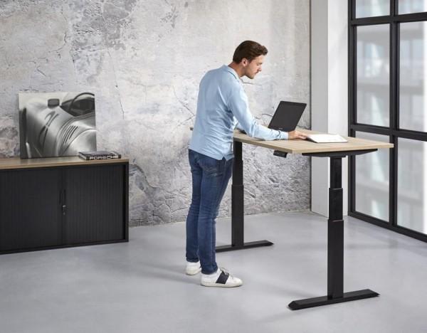 """Steh-/Sitzschreibtisch elektrisch einstellbare Workstation """"Budget"""" Höhe 65-130cm"""